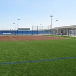Outdoor baseball diamond corner view